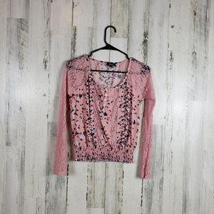 5/$25 Deb cute flower lace top size XS